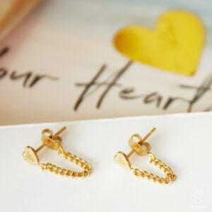 Oorbellen Heart and Chain