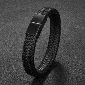 Leren gevlochten armband zwart