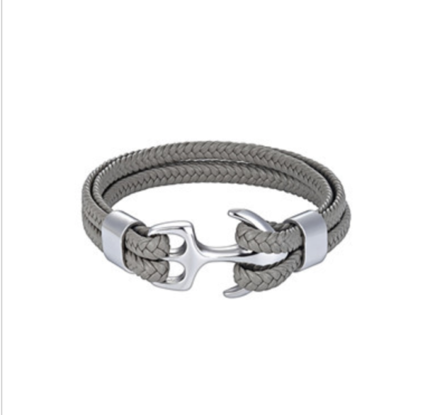 Leren armband anchor grijs
