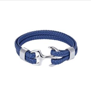 Leren armband anchor blauw
