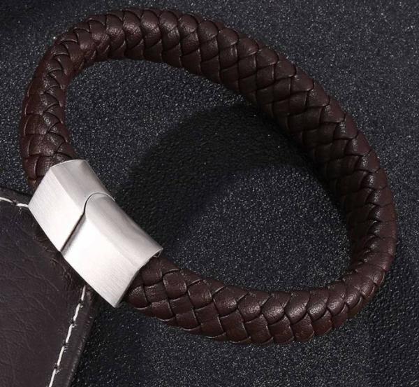 Leren gevlochten armband bruin