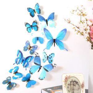 3D muurstickers vlinders blauw