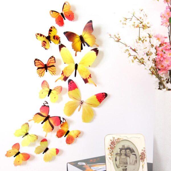 3D muurstickers vlinders geel