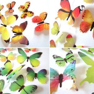 3D muurstickers vlinders roze