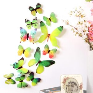 3D muurstickers vlinders groen