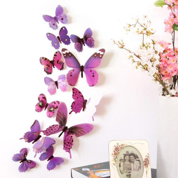 3D muurstickers vlinders paars